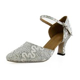 Mulher Espumante Glitter Saltos Bombas Moderno com Correia de Calcanhar Sapatos de dança (053013026)