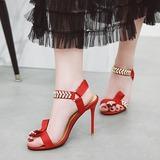 Women's Fabric Stiletto Heel Sandals Pumps Peep Toe Slingbacks With Buckle shoes (087208892)