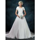Платье для Балла квадратный вырез Собор поезд Атлас Органза Свадебные Платье с Вышито Бисер блестками (002000540)