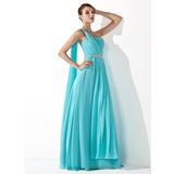 Vestidos princesa/ Formato A Um ombro Longos De chiffon Vestido de baile com Pregueado Bordado (018013099)