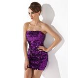 Платье-чехол Без лямок Мини-платье С блестками Коктейльные Платье (016020916)