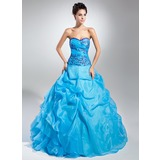 Ball-Gown Sweetheart Floor-Length Organza Quinceanera Dress With Embroidered Ruffle Beading Sequins (021015109)