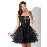 Vestidos princesa/ Formato A Coração Curto/Mini Organza de Vestido de boas vindas com Bordado (022010565)