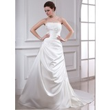 A-Line/Princess Strapless Chapel Train Satin Wedding Dress With Ruffle Beading Appliques Lace (002000449)