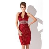 Платье-чехол С бретелью через шею Длина до колен С блестками Коктейльные Платье с Бисер (016008512)