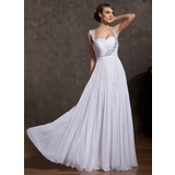 A-Line/Princess Sweetheart Floor-Length Chiffon Holiday Dress With Ruffle Beading (020025842)