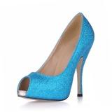 Mulheres Espumante Glitter Salto agulha Sandálias Plataforma Peep toe sapatos (085015295)