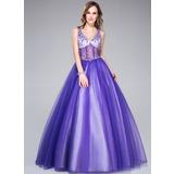 De baile Decote V Longos Tule Vestido quinceanera com Bordado (018044972)
