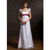 Vestidos princesa/ Formato A Decote redondo Longos Organza de Vestido de noiva com Cintos Bordado (002015046)