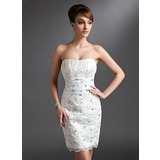 Платье-чехол В виде сердца Длина до колен кружева Свадебные Платье с Рябь Бисер (002011965)