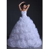 Платье для Балла В виде сердца Длина до пола Органза Свадебные Платье с Рябь Бисер (002017332)