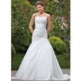 Vestidos princesa/ Formato A Sem Alças Cauda longa Tafetá Vestido de noiva com Pregueado Bordado Apliques de Renda (002001356)