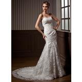 Trompete/Sereia Coração Cauda longa Renda Vestido de noiva com Bordado (002011464)