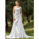 A-Line/Princess One-Shoulder Chapel Train Charmeuse Wedding Dress With Ruffle Beading Appliques Lace (002000109)