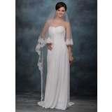 One-tier Cathedral Bridal Veils With Lace Applique Edge (006005766)