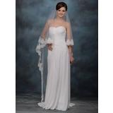 Uma camada Catedral véus de noivas com Borda com aplicação de renda (006005766)