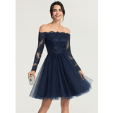 A-Line/Princess Off-the-Shoulder Knee-Length Tulle Cocktail Dress With Beading (016170864)