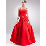 A-Line/Princess Floor-Length Satin Holiday Dress With Beading (020025841)