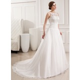 Ball-Gown Scoop Neck Court Train Chiffon Lace Wedding Dress With Ruffle (002019534)