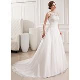 Платье для Балла Круглый Церемониальный шлейф шифон кружева Свадебные Платье с Рябь (002019534)