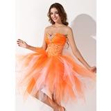 Vestidos princesa/ Formato A Coração Coquetel Tule Vestido de boas vindas com Bordado Babados em cascata (022009812)