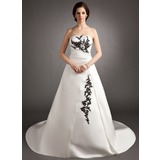 Gala-Japon Strapless Hof sleep Satijn Bruidsjurk met Roes Kraalwerk Applicaties Kant Pailletten (002012062)