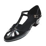 Детская обувь кожа Лакированная кожа На плокой подошве Современный Бальные танцы с Т-ремешок Обувь для танцев (053013394)