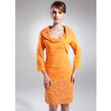 Tubo Cowl Neck Coquetel Tecido de seda Vestido para a mãe da noiva com Pregueado Apliques de Renda lantejoulas (008015866)