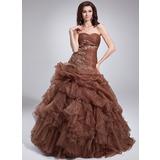 De baile Coração Longos Organza de Vestido quinceanera com Bordado Apliques de Renda Babados em cascata (021004552)