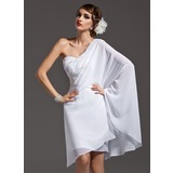 Sheath/Column One-Shoulder Asymmetrical Chiffon Holiday Dress With Beading (020036571)