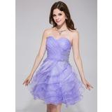 Vestidos princesa/ Formato A Coração Curto/Mini Organza de Vestido de boas vindas com Bordado Babados em cascata (022027096)