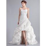 A-Lijn/Prinses Sweetheart Asymmetrisch Taft Bruidsjurk met Roes (002025339)