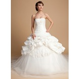 Платье для Балла Без лямок Собор поезд Тафта Тюль Свадебные Платье с кружева блестками (002014699)