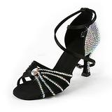 Mulheres Cetim Saltos Latino Salão de Baile Casamento Festa com Strass Correia de Calcanhar Sapatos de dança (053018500)
