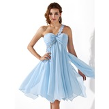 Empire One-Shoulder Knee-Length Chiffon Homecoming Dress With Ruffle Beading Appliques Lace (022008969)