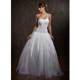 De baile Coração Longos Cetim Organza de Vestido de noiva com Bordado (002012169)