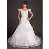 Платье для Балла С Открытыми Плечами Церковный шлейф Атлас Органза Свадебные Платье с Рябь Бисер Цветы блестками (002015497)