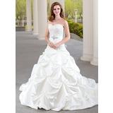 De baile Coração Cauda longa Cetim Vestido de noiva com Pregueado Renda Bordado (002000432)