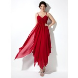 Empire V-neck Ankle-Length Chiffon Homecoming Dress With Ruffle (022021021)
