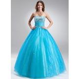 Платье для Балла В виде сердца Длина до пола Тюль Пышное платье с Бисер (021017115)