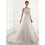 Ball-Gown Sweetheart Chapel Train Organza Wedding Dress With Embroidered Lace Beading (002000179)