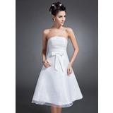 Vestidos princesa/ Formato A Sem Alças Coquetel Organza de Vestido de boas vindas com Pregueado Curvado (022015089)