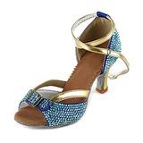 Mulheres Cetim Saltos Sandálias Latino com Strass Correia de Calcanhar Sapatos de dança (053018631)