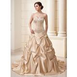 Платье для Балла В виде сердца Церковный шлейф Атлас Свадебные Платье с Вышито Рябь Бисер (002011639)