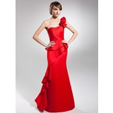 Trumpet/Mermaid One-Shoulder Floor-Length Satin Prom Dresses With Cascading Ruffles (018014697)
