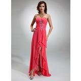 A-Line/Princess Sweetheart Asymmetrical Chiffon Holiday Dress With Beading Cascading Ruffles (020025943)