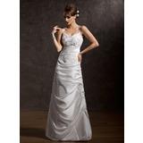 Трапеция/Принцесса V-образный Длина до пола Тафта Свадебные Платье с Рябь кружева (002001411)