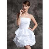 A-Line/Princess Strapless Short/Mini Taffeta Wedding Dress With Ruffle (002024073)