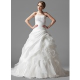 Ball-Gown Strapless Chapel Train Taffeta Organza Wedding Dress With Lace Cascading Ruffles (002004523)