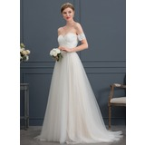A-Line/Princess Sweetheart Sweep Train Tulle Wedding Dress With Bow(s) (002171927)